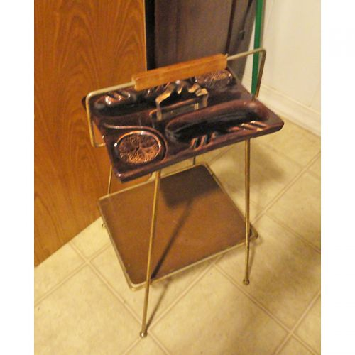 Metal Tobacco Smoker Stand with Original Ceramic Ashtray