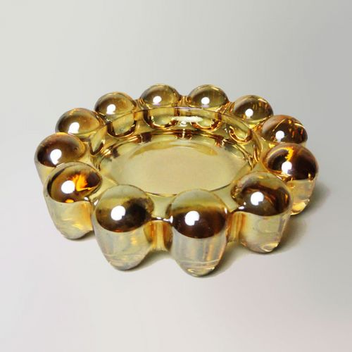 Boopie Style Gold Tint Bubble Knob Vintage Ashtray Dish