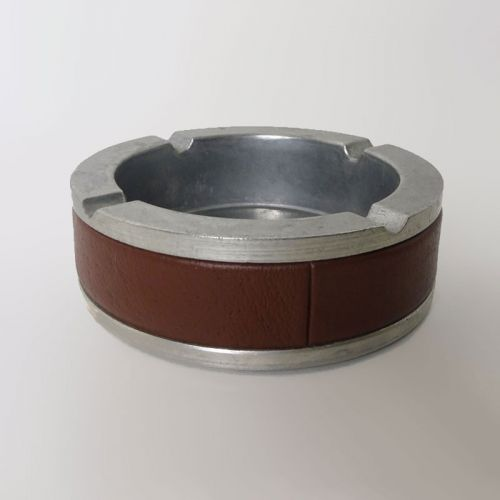 Round Metal Vintage Ashtray with Brown Leatherette Trim