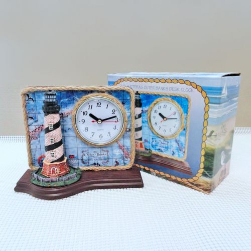 Lighthouse Quartz Table Clock with Cape Hatteras Map