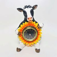 Sitting Cow Novelty Table Clock with Sunflower