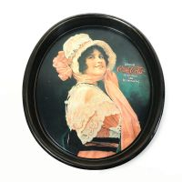 Coca Cola Oval Metal Serving Tray. 1914 Betty Girl Ad Repro