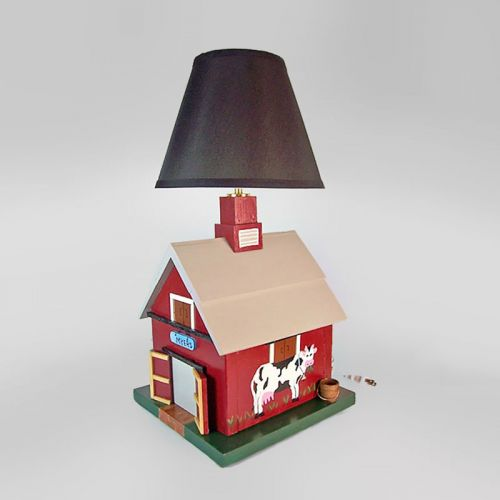 Handcrafted Wood Barnyard Lamp with Lampshade