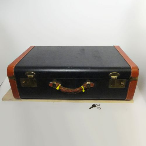 Vintage Hardcase Suitcase with Key Blue with Orange Trim