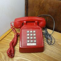 ITT Red Push Button Vintage Desk Telephone