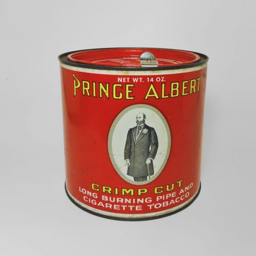 Prince Albert Crimp Cut Tall Round Tobacco Tin Canister