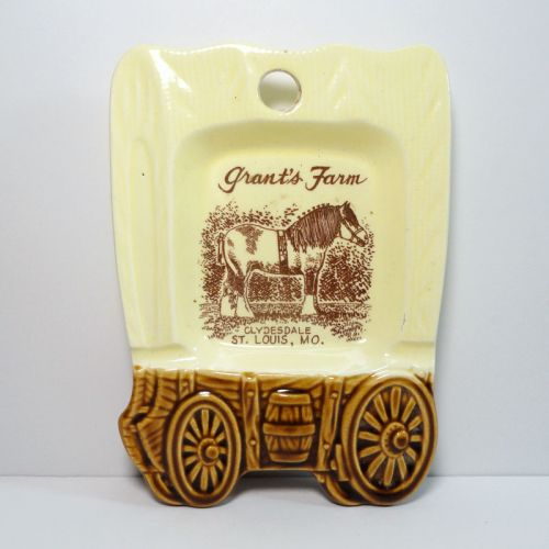 Grant's Farm Covered Wagon Ceramic Ashtray