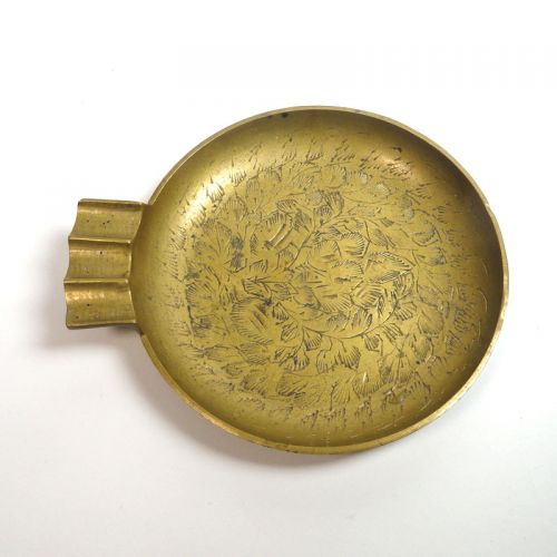 Brass Vintage Ashtray with Etched Leaves Design