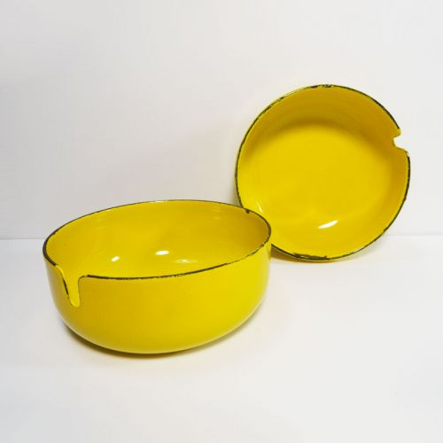 Pair of Round Yellow Metal Ashtrays Stamped Japan