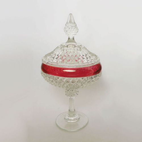 Indiana Glass Diamond Point Ruby Wide Compote Bowl with Lid