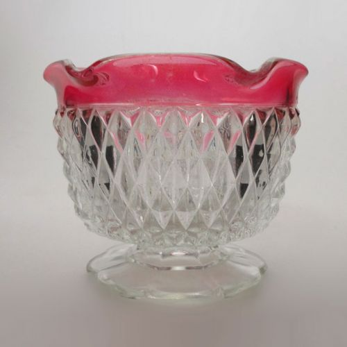 Indiana Glass Diamond Point Ruby Edge Small Compote Bowl