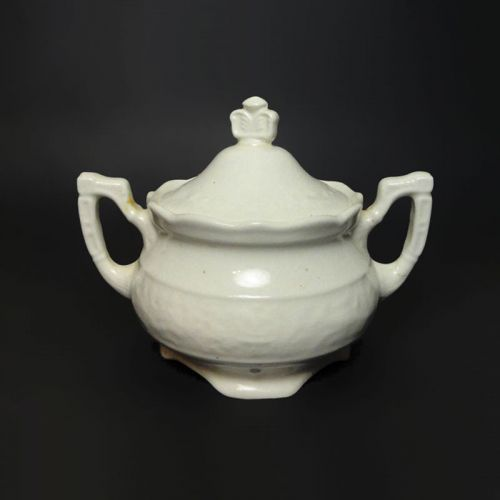 Vintage Ceramic Sugar Bowl with Two Handles and Lid