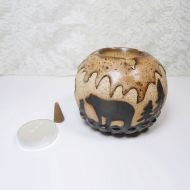 Bears in Woods Round Ceramic Tealight Candle Holder