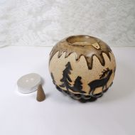 Deer in the Woods Round Ceramic Tealight Candle Holder