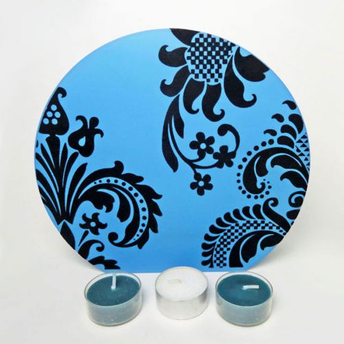 Blue Glass with Velvet Swirl Roundtop Tealight Candle Holder