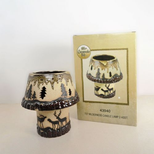 Deer in the Woods 2 Piece Ceramic Tealight Candle Lamp