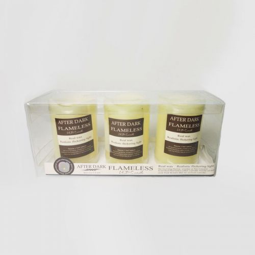 LED Real Wax Flameless Flickering Pillar Candles 3 Pack