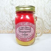 Strawberries and Cream 13 oz Scented Candle Large Glass Mug