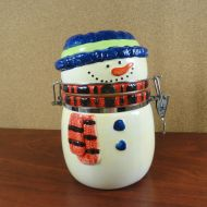 Snowman Ceramic Holiday Candy Treat Jar with Latching Lid