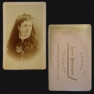 Antique CDV Photo Woman Wearing Jewelry and Veil