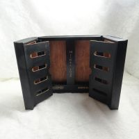 Final Four Empty Black Leatherette Sectioned Wood Cigar Box