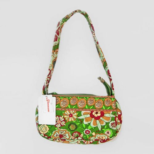 Retro Flower Design Quilted Shoulder Bag