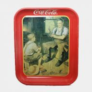 Coca Cola Village Blacksmith Metal Serving Tray