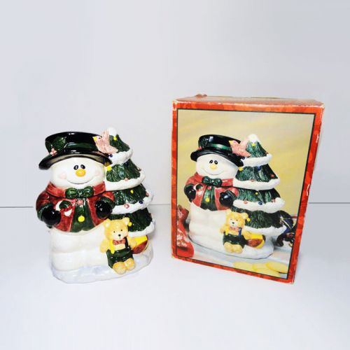 Jay Import Snowman with Xmas Tree Vintage Cookie Jar in Box