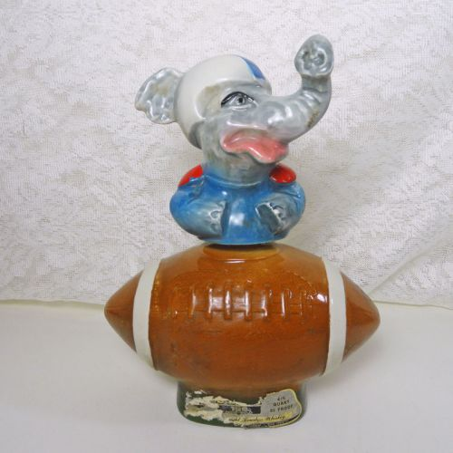 Jim Beam Whiskey Decanter 1972 Political Elephant and Football