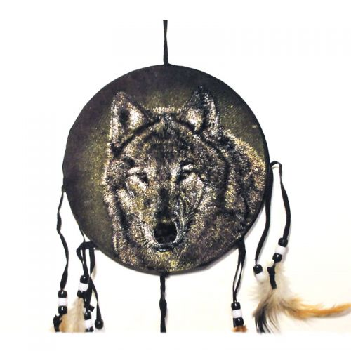 Dreamcatcher Colorful Wolf Head in Full Frontal View