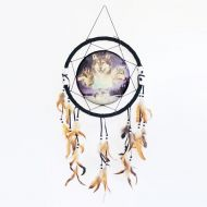 Dream Catcher Wolves Surrounding a Moon Filled Sky
