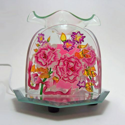 Burst of Colorful Flowers Glass Electric Oil Tart Warmer