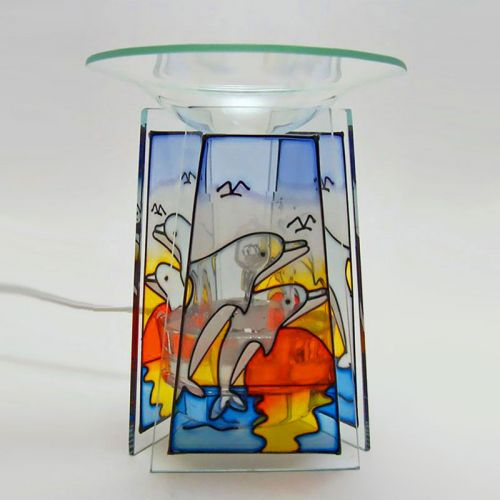 Jumping Dolphins Stained Glass Style Electric Oil Warmer