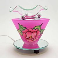 Etched Rose on Deep Pink Round Glass Electric Oil Warmer
