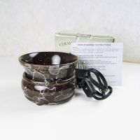 Brown Marble Style Electric Candle Tart Warmer Combo