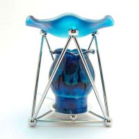 Melting Blue Glass Metal Frame Electric Oil Tart Warmer