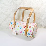 Paw Print Barrel Style Vinyl Shoulder Bag in Fun Colors