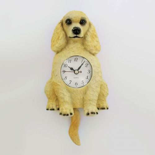 Poodle Dog Novelty Wall Clock with Wagging Tail Pendulum