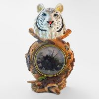 White Tiger Head Novelty Table Clock with Jungle Theme