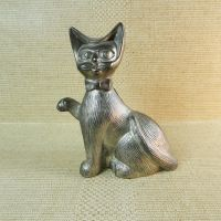 Cat Figurine Lightweight Aluminum Vintage Coin Bank