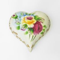 Heart Shaped Ceramic Rose Flower Vintage Trinket Box