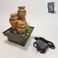 Aztec Clay Pots Dual Powered Mini Indoor Fountain