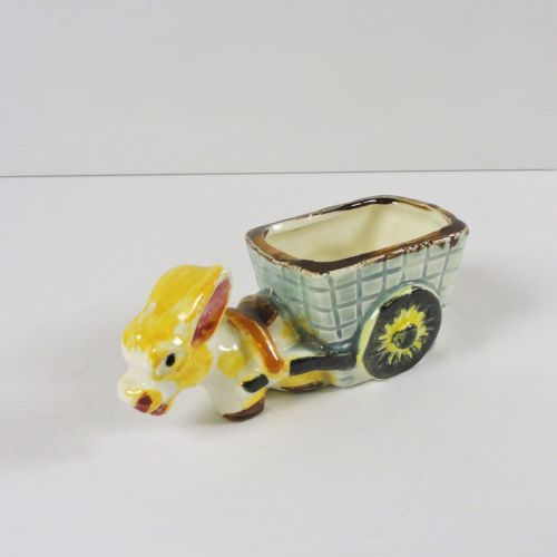 Donkey Pulling Cart Small Vintage Figurine Planter Japan