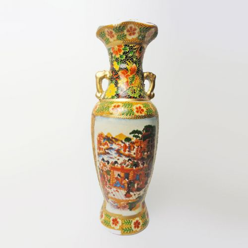 Oriental Style Vintage Ceramic Vase Meeting on the Dock