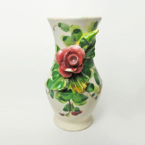 Small Vintage Ceramic Vase with a Protruding Rose