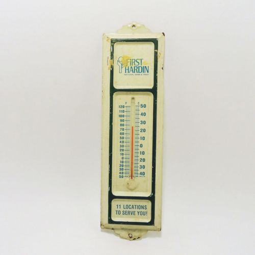 First Hardin Bank Vintage Metal Wall Thermometer