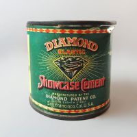 Diamond Elastic Showcase Cement Vintage Metal Tin