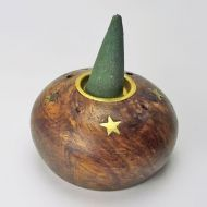 Round Wood with Gold Accents Incense Burner Holder