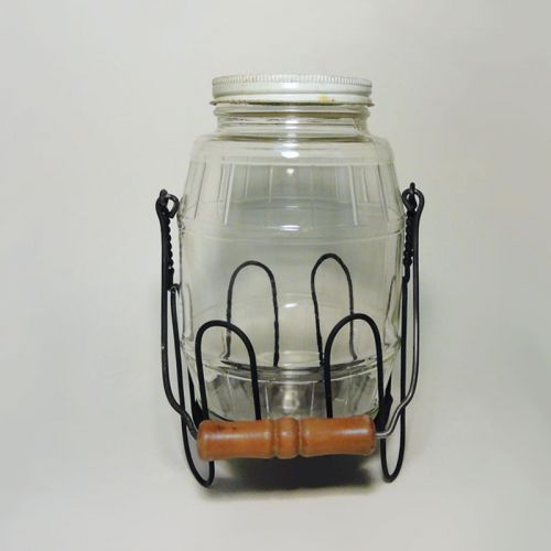 Hazel Atlas Vintage Barrel Pickle Jar in Metal Holder