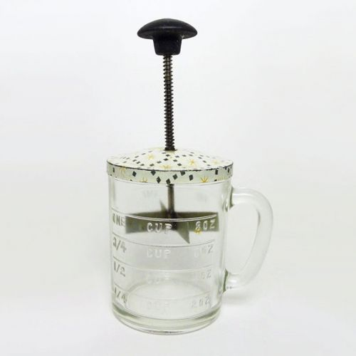 Hazel Atlas Vintage Plunger Food Chopper with Measuring Mug